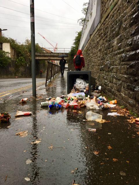 Image may contain: Urban, Bird, Animal, Trash, Person, Human