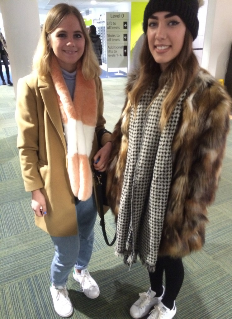 Left- Sarah South, Fashion Marketing and Branding. Striped scarf and coat are from Topshop. Right- Molly Balzan-Muir, Fashion Marketing and Branding. Fur coat is from Topshop and houndstooth scarf is from Zara