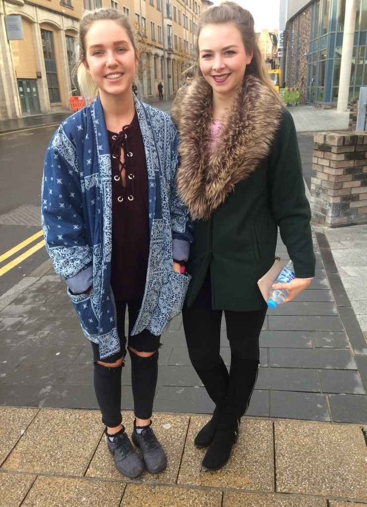 Left- Colette Fawcett, Fashion Design. Lace up jumper is from Primark Right- Jessica Parrots, Fashion Design. Coat is from Miss Selfridge