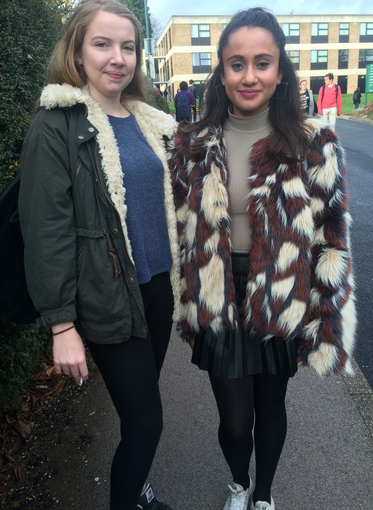 Left- Tori Chalmers, Sociology. Coat is from Zara. Right- Phoebe Allain, Sociology. Fur coat is from Missguided.