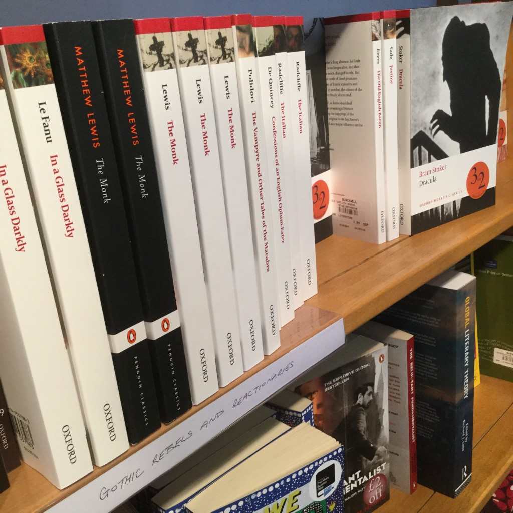 The Blackwell's shelf of gothic texts...with Dracula creeping around.