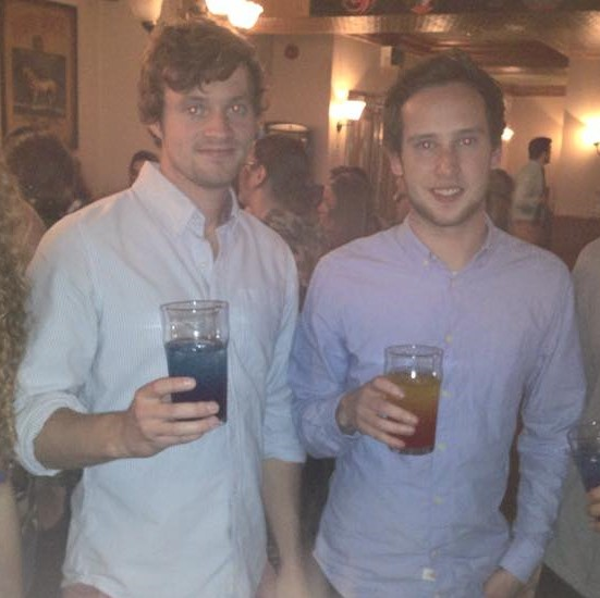 Tom (left) is partial to a pint, rather than clubbing