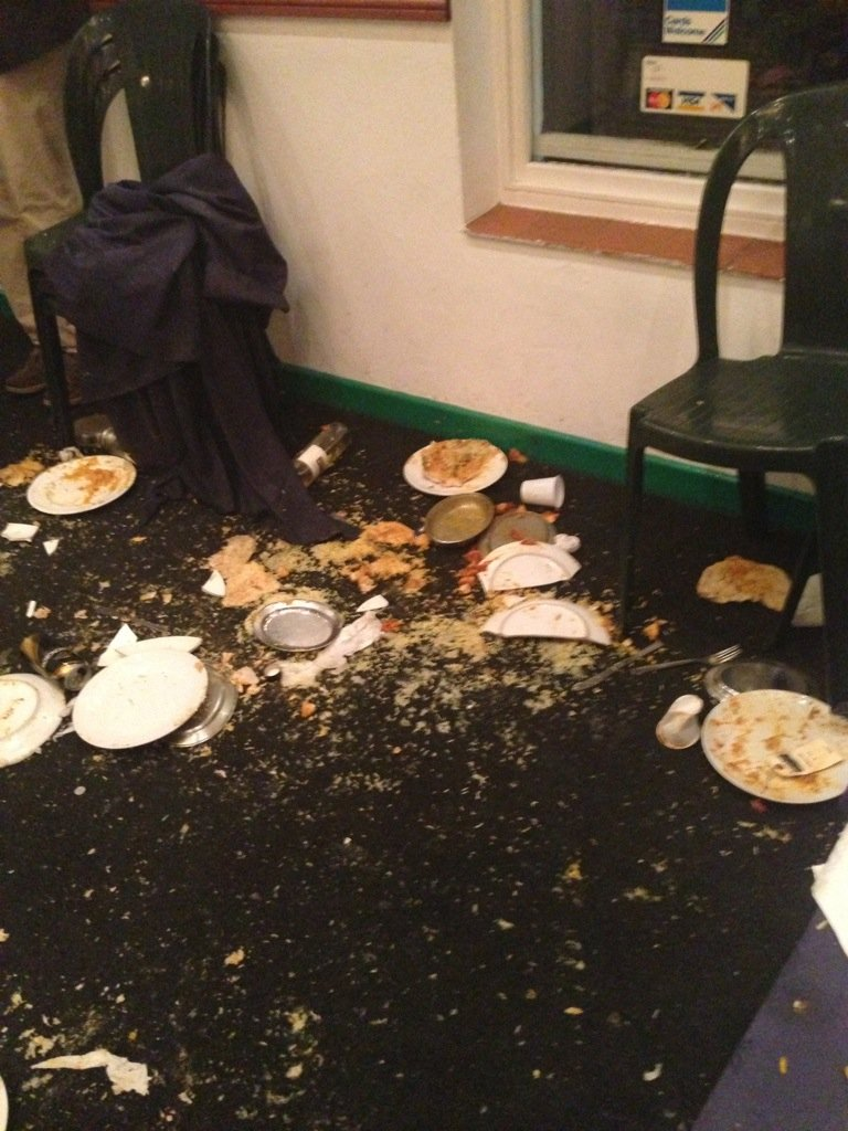 Plates of food were thrown across the room
