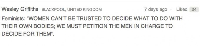 The top rated comment on the counter-petition