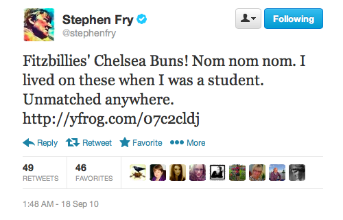 Stephen Fry is partial to a sticky bun