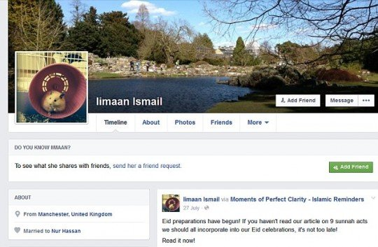Her Facebook profile displaying her marriage to the suspected Jihadist