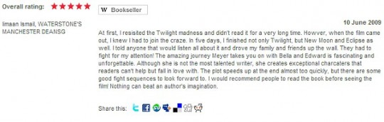Also a fan of Twilight, apparently