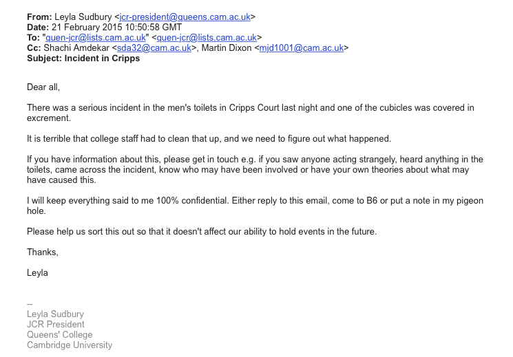 The second e-mail distributed by the Queens' JCR