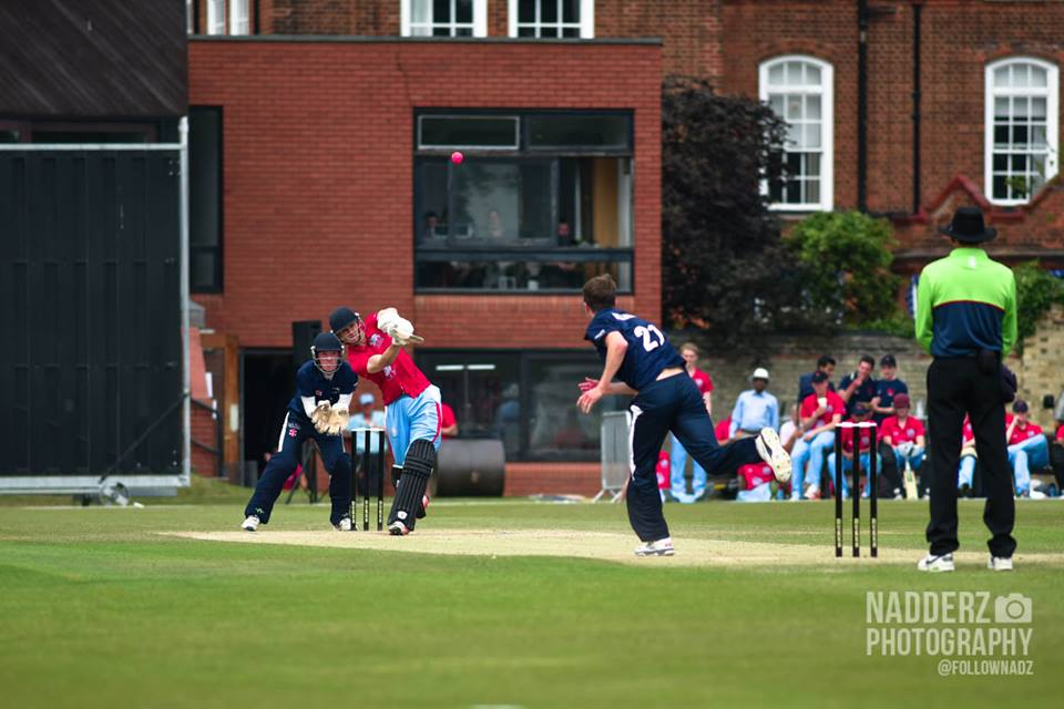 Blofield strikes the only six of the Cambridge innings