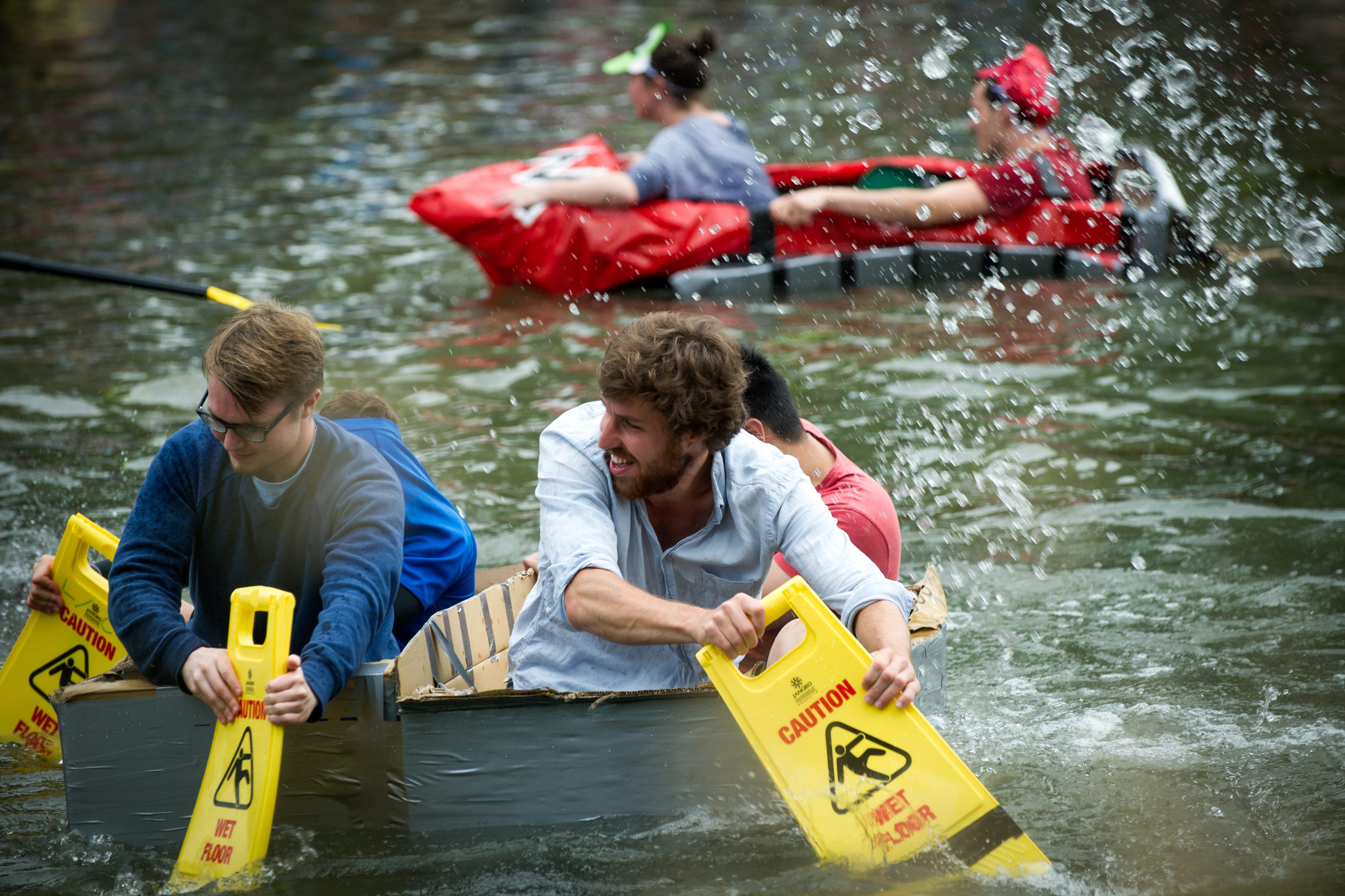 Suicide Sundy cardbard boat race on the river Cam in Cambridge