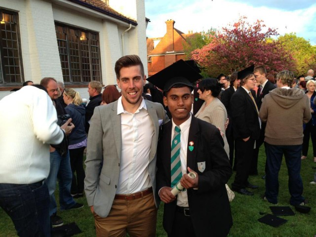 Bok and Rob at his school graduation - he was a 'straight A' student