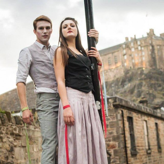 Oli MacFarlane as Pippin and Caroline Sautter as Leading Player