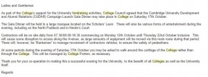 Email sent to students