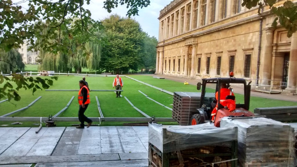 Trinity getting ready for the obscenely rich to pave its Scholars' Lawn.