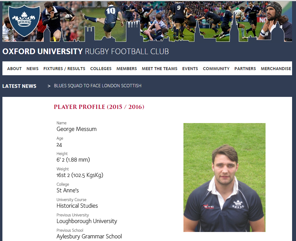 Sausage legs' profile on the OURFC website