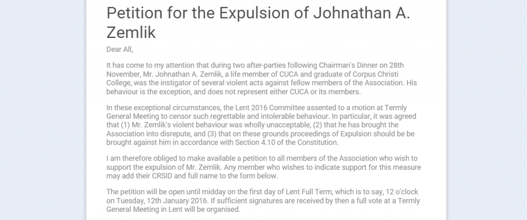 The petition to expel JAZ.