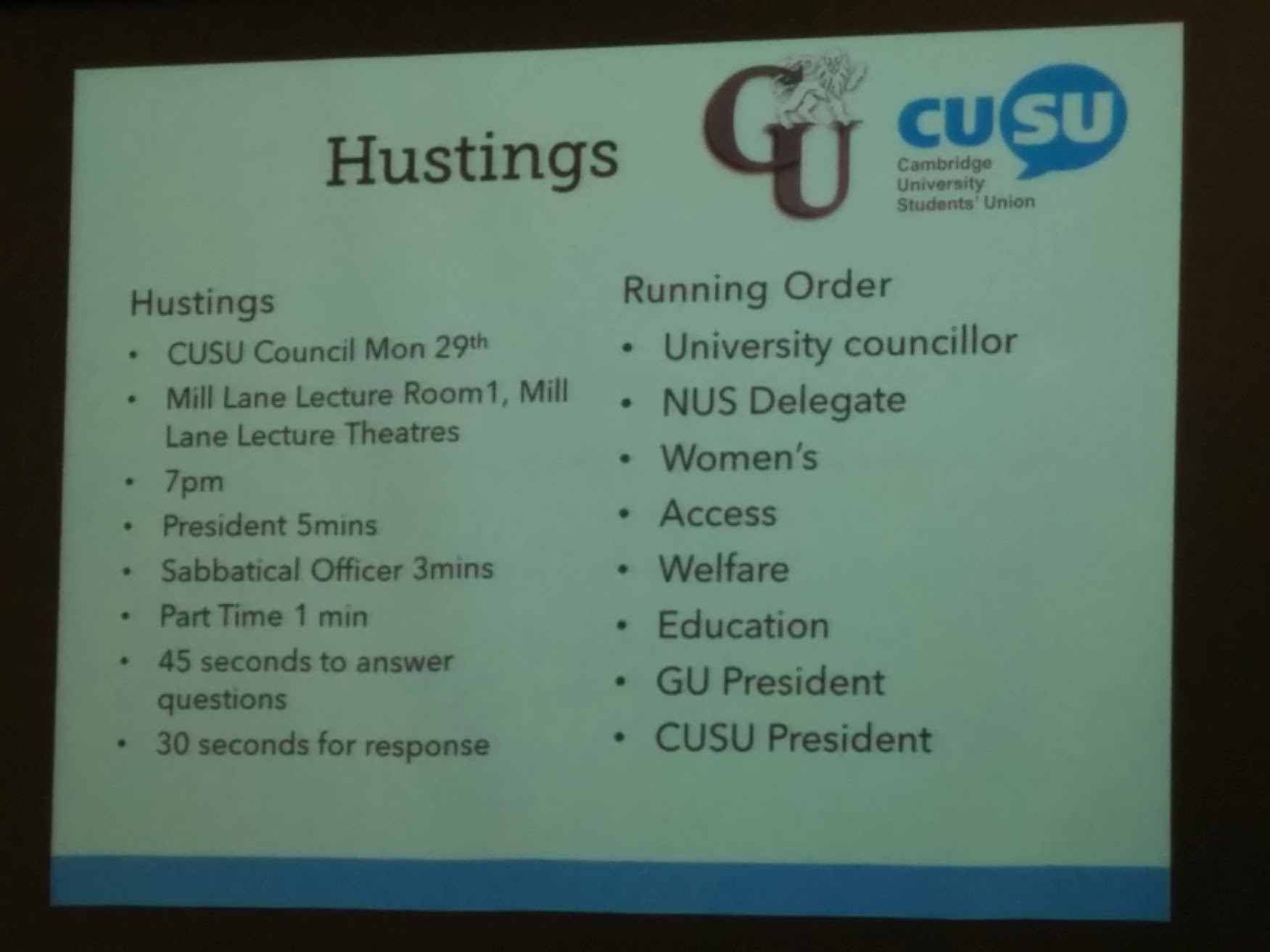 This was the original briefing for today's hustings last Wednesday