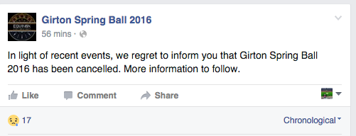 The committee confirmed the ball would not take place on Tuesday afternoon