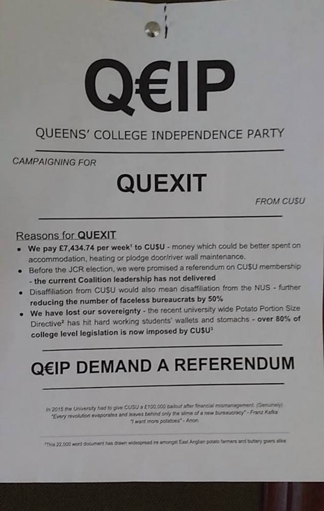 Ironic that Queen's college want increased democracy (monarchic rule anyone?)