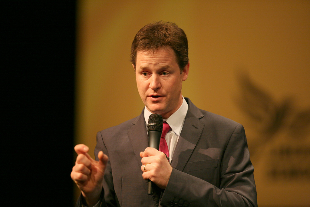 Nick Clegg gesturing about the size of something.