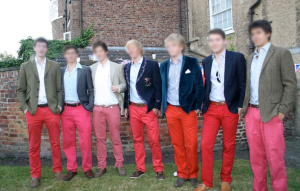 Ironically, this is a photo of Durham's red chinos society. Yes, really. Presumably they're trying to look like us