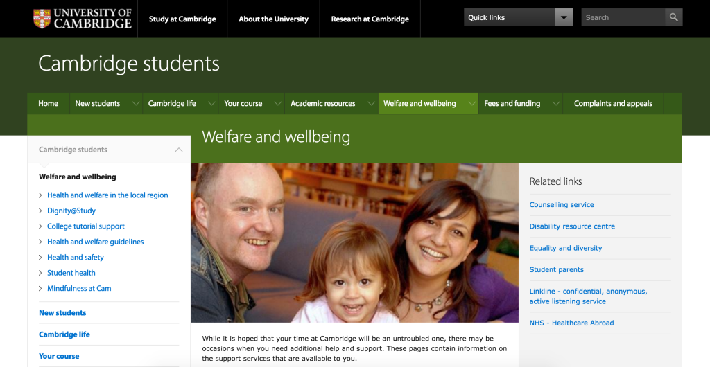 The university website has a section on welfare, and all college websites will too.