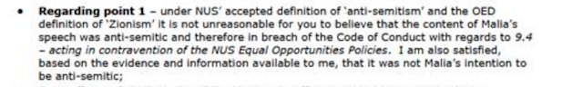 Extract from the letter in response to the complaint