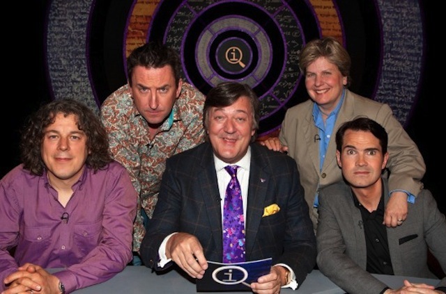 Stephen Fry (Queens College Cambridge), Sandi Toksvig (Girton College Cambridge), Jimmy Carr (Gonville and Caius College Cambridge).