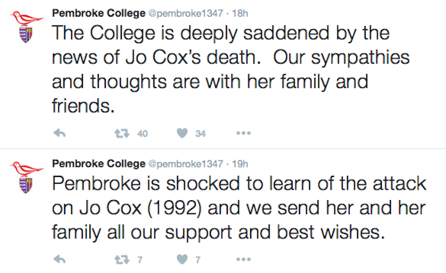 The college twitter account expressed their condolences