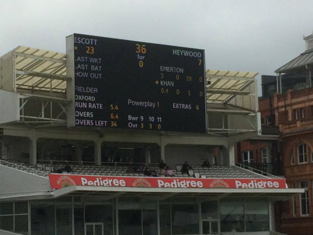 Here is a photo of the scoreboard