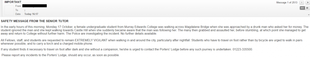 This email was sent around by colleges, advising students to be cautious