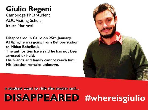 Giulio's friends and family alerted the public that he was missing. Tragically he was found dead two weeks later.