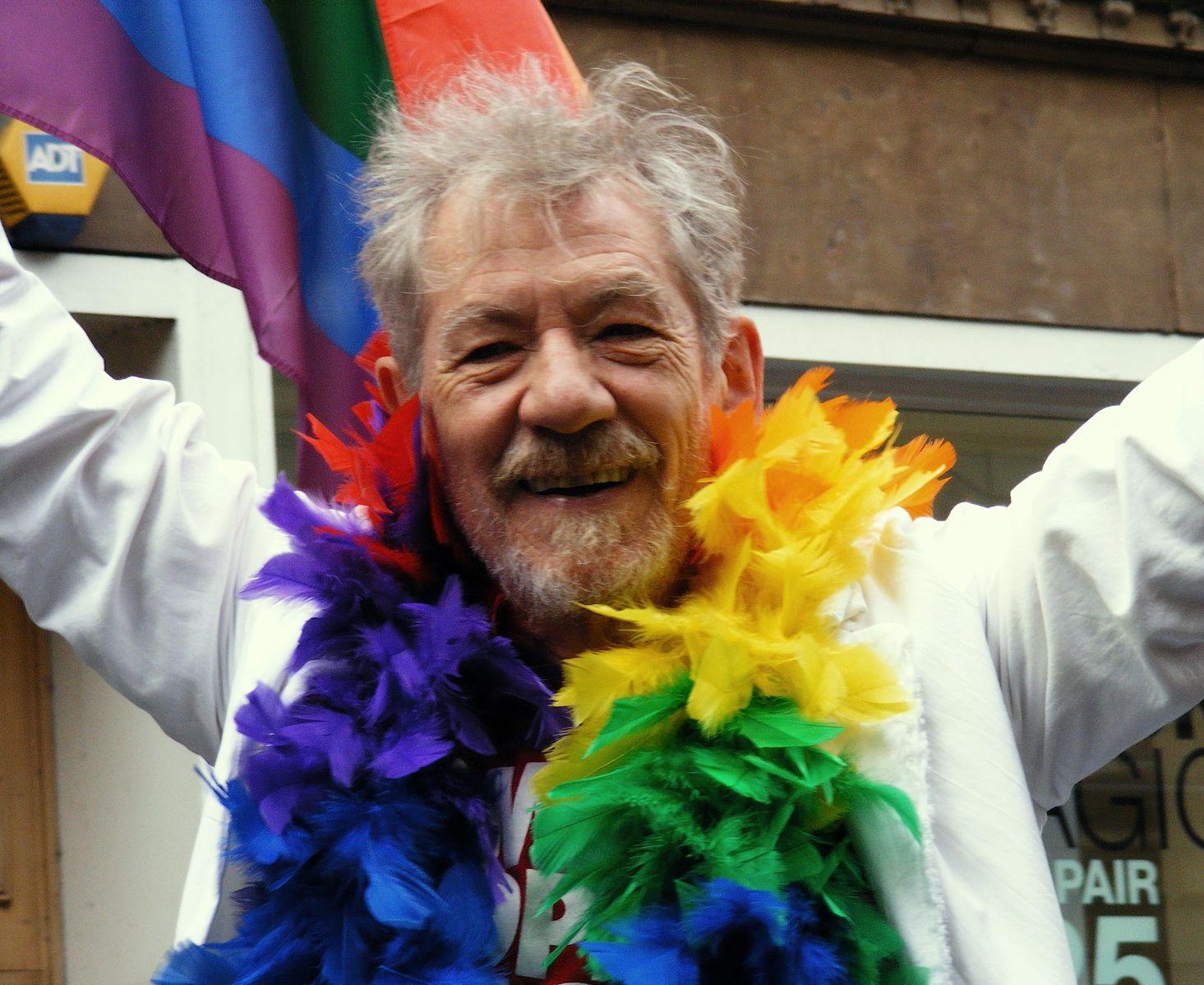Sir Ian McKellen at Manchester Pride last month