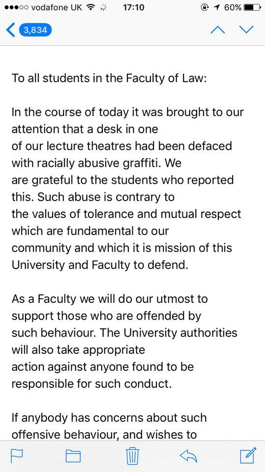 The email was sent to all Law students