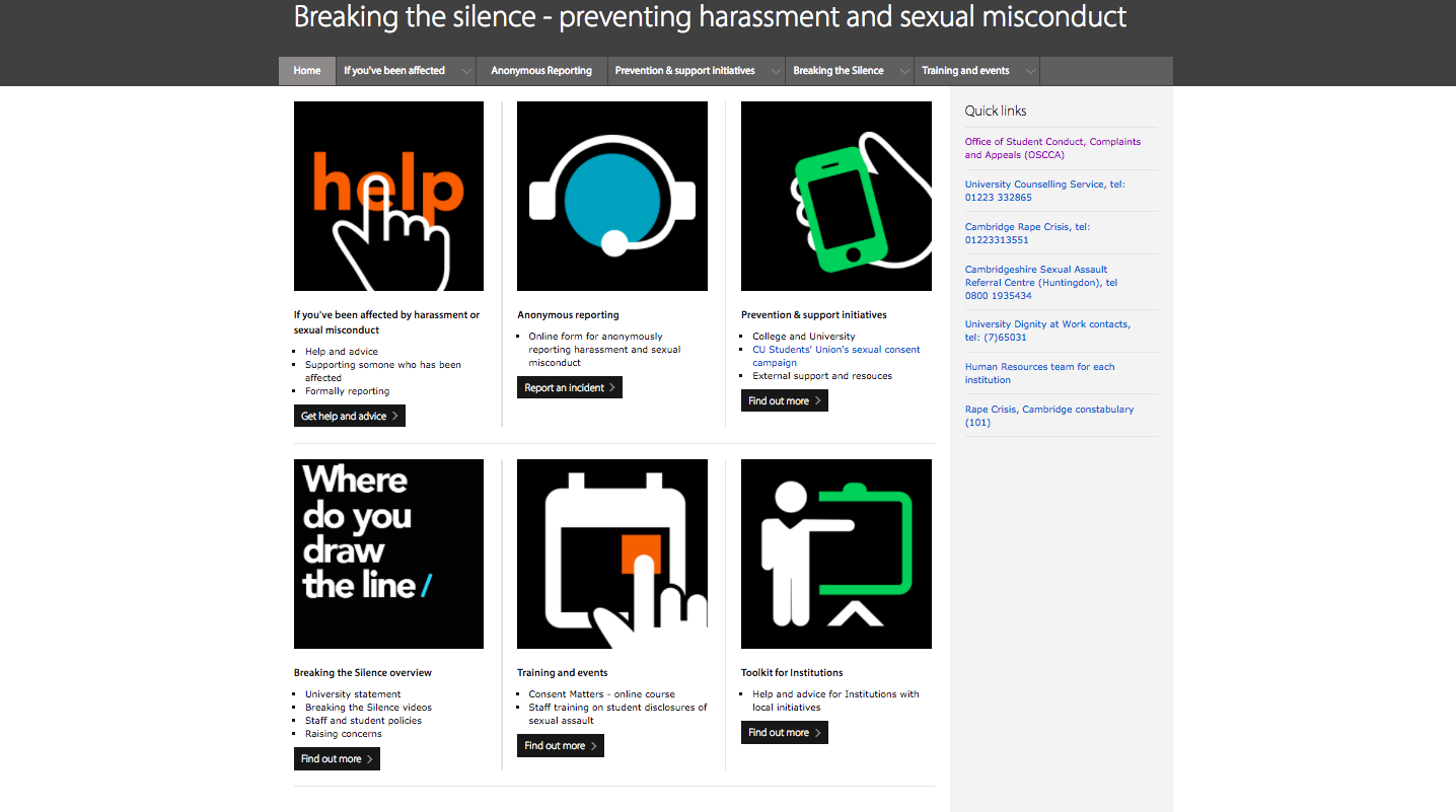 "The ""Breaking the silence"" website"