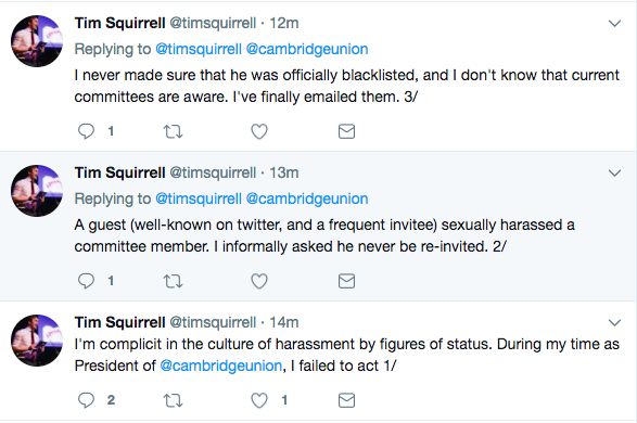Tweets made by Squirrell earlier today