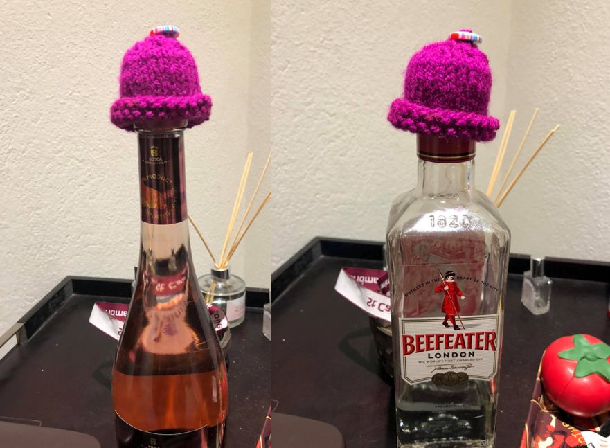 Image may contain: Bottle, Knitting