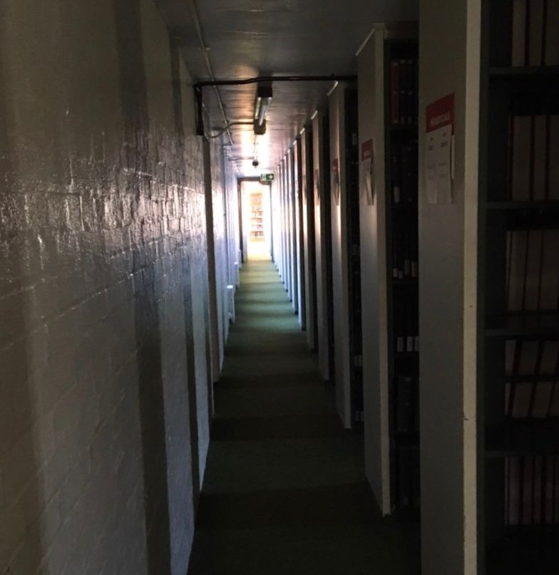 Image may contain: Indoors, Interior Design, Floor, Flooring, Corridor