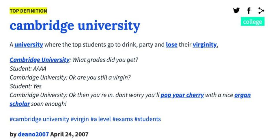 Define Cambridge University The Very Best Of Urban Dictionary University Of Cambridge