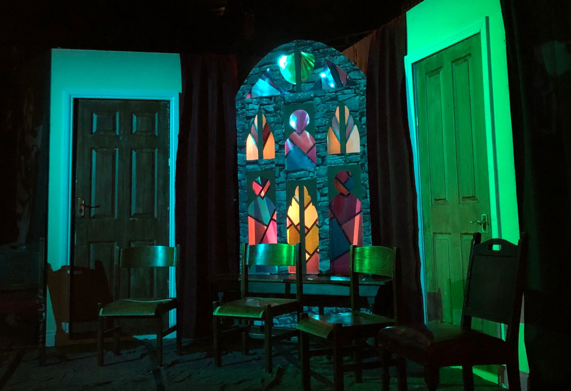 Image may contain: Stained Glass, Art, Door, Chair, Furniture