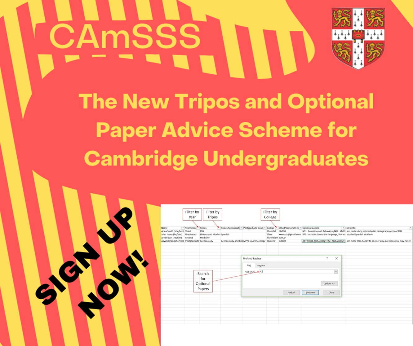Infrographic encouragin students to sign up for CAmSSS