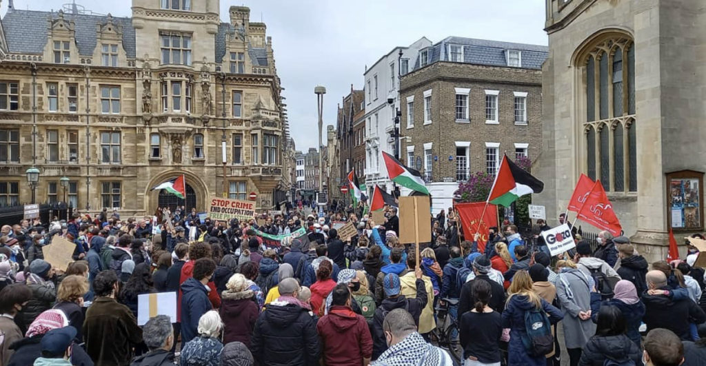A group of protesters on King's Parade