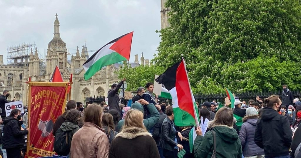 Protesters fly the Palestinian flag