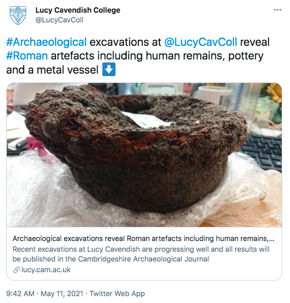 a tweet from Lucy Cavendish college with an image of the metal vessel