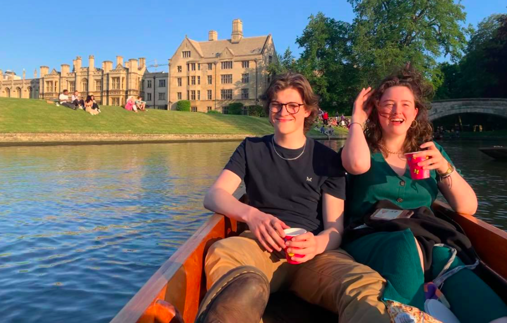 A couple on the river punting