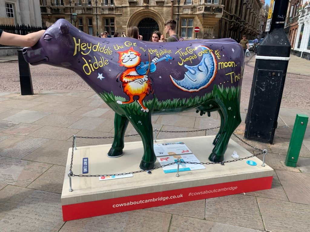 A cow with Hey Diddle Diddle painted on it