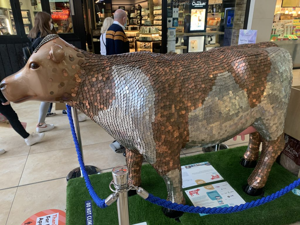A cow made of coins