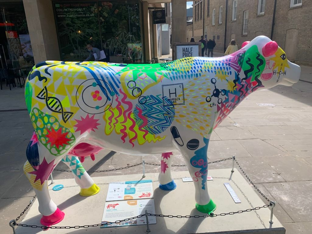 A brightly coloured cow with lots of science symbols