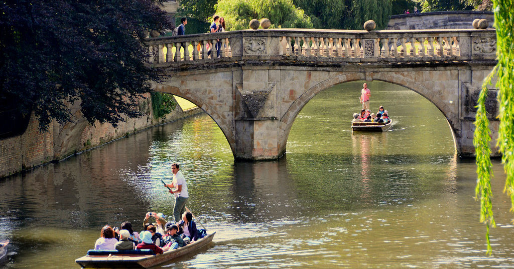 People punting on the river cam