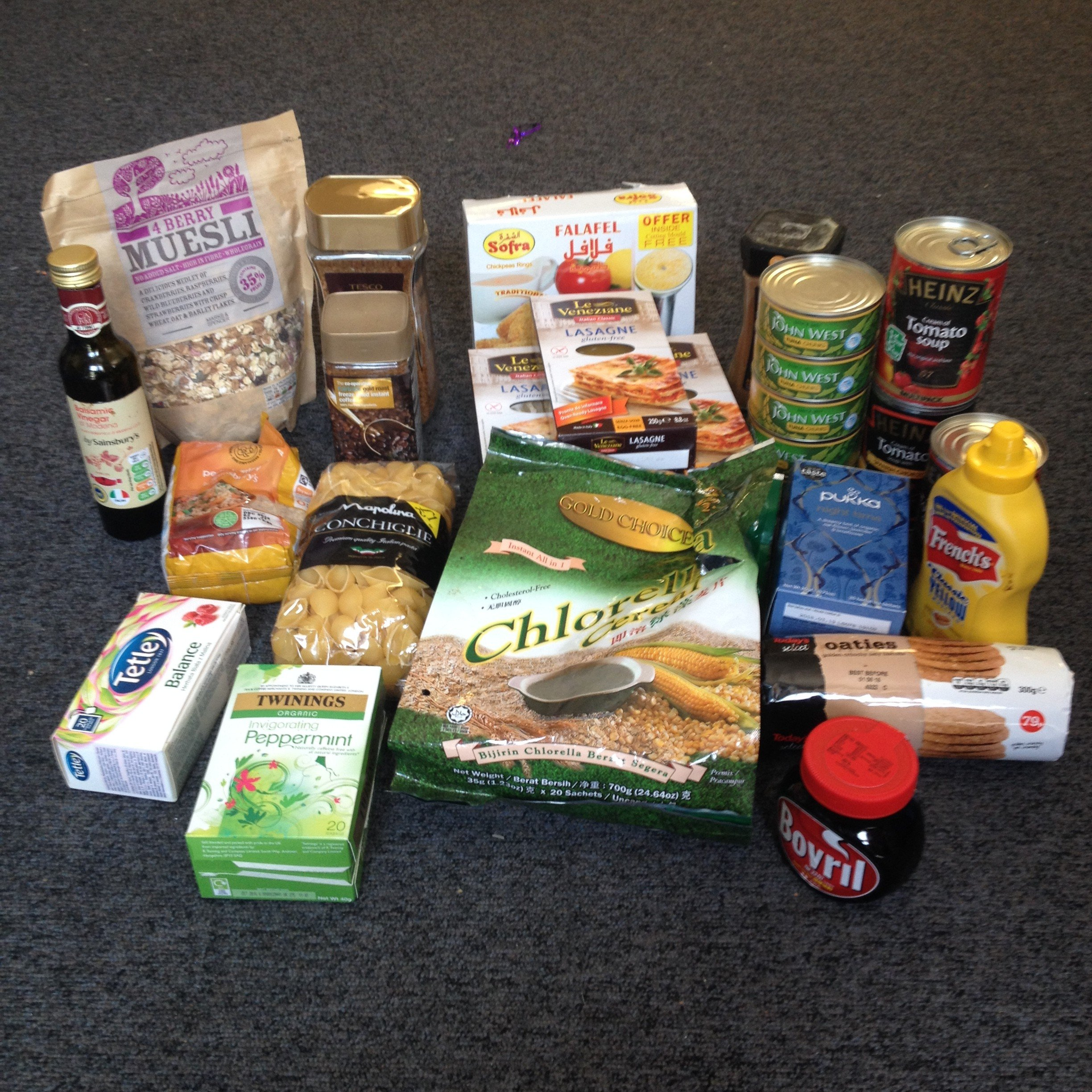Food I have collected this week. Which I shall be taking to food bank.